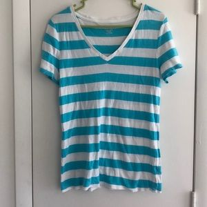 Merona XL turquoise and white striped VNeck Tee
